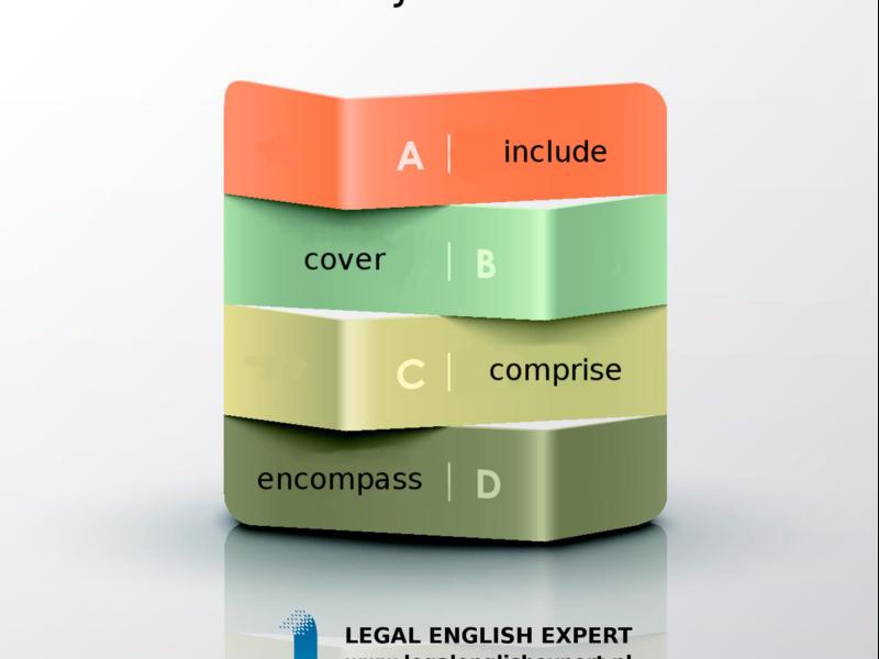 LEGAL ENGLISH EXPERT - infografika_30 - obejmować