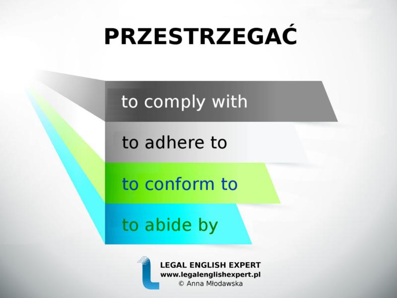 LEGAL ENGLISH EXPERT - infografika_32 - przestrzegać