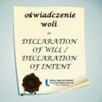 """Infografika """" OŚWIADCZENIE WOLI"""" + przykład użycia z anglojęzycznego aktu prawnego"""